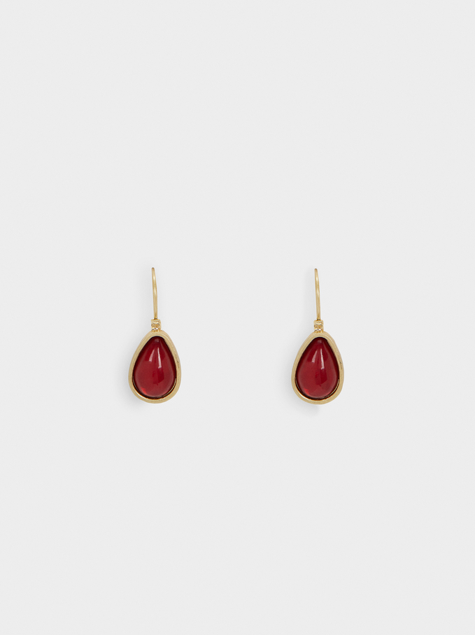 Short Multicoloured Earrings, Red, hi-res