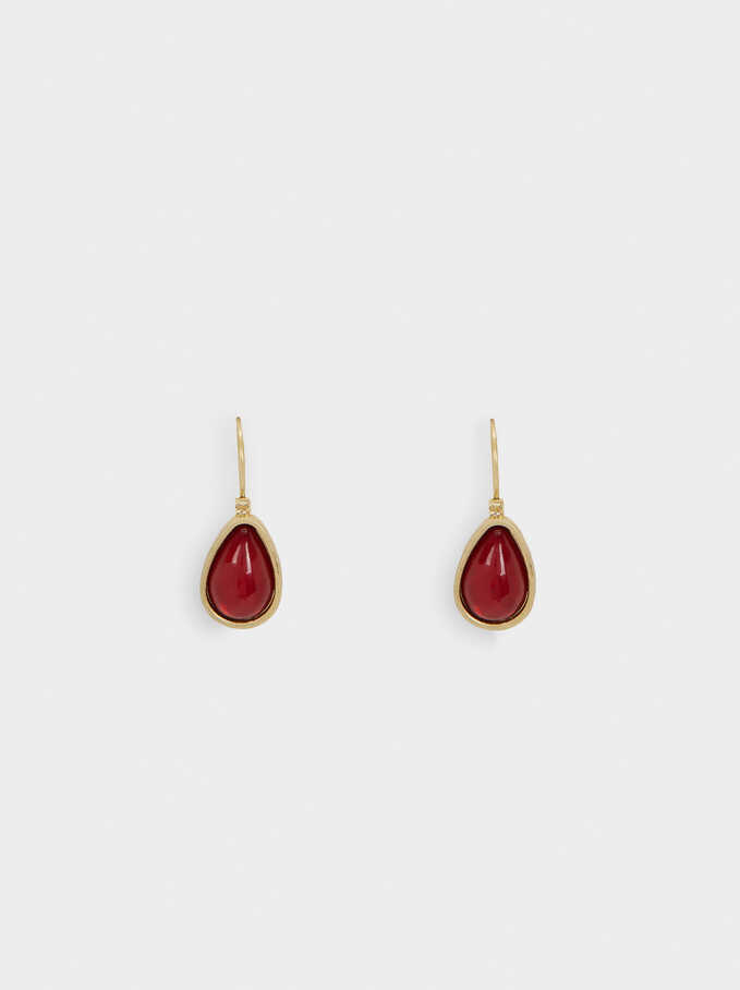 Short Multicoloured Earrings, Red, hi-res