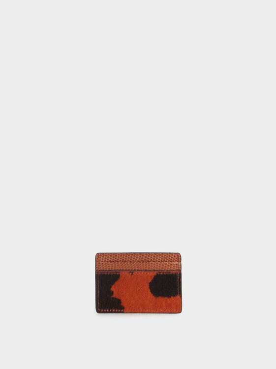 Animal Print Card Holder, Orange, hi-res