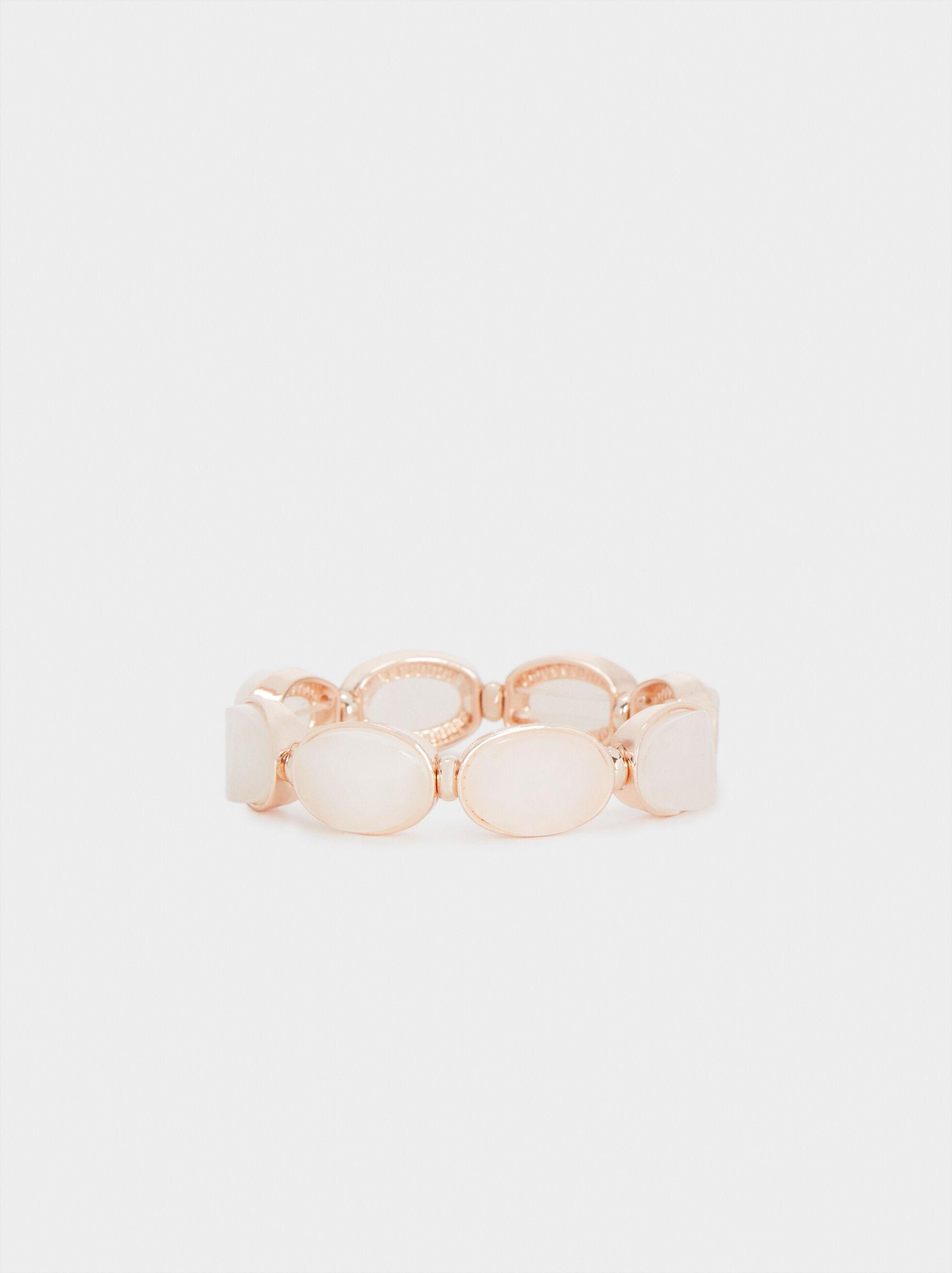 Braccialetto Elastico Resina Effetto Oro Rosa, Arancione, hi-res