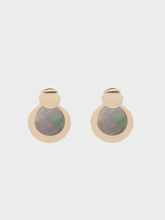 Earrings With Shell, Multicolor, hi-res