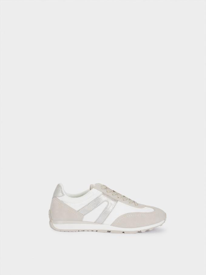 Contrast Sneakers, Silver, hi-res