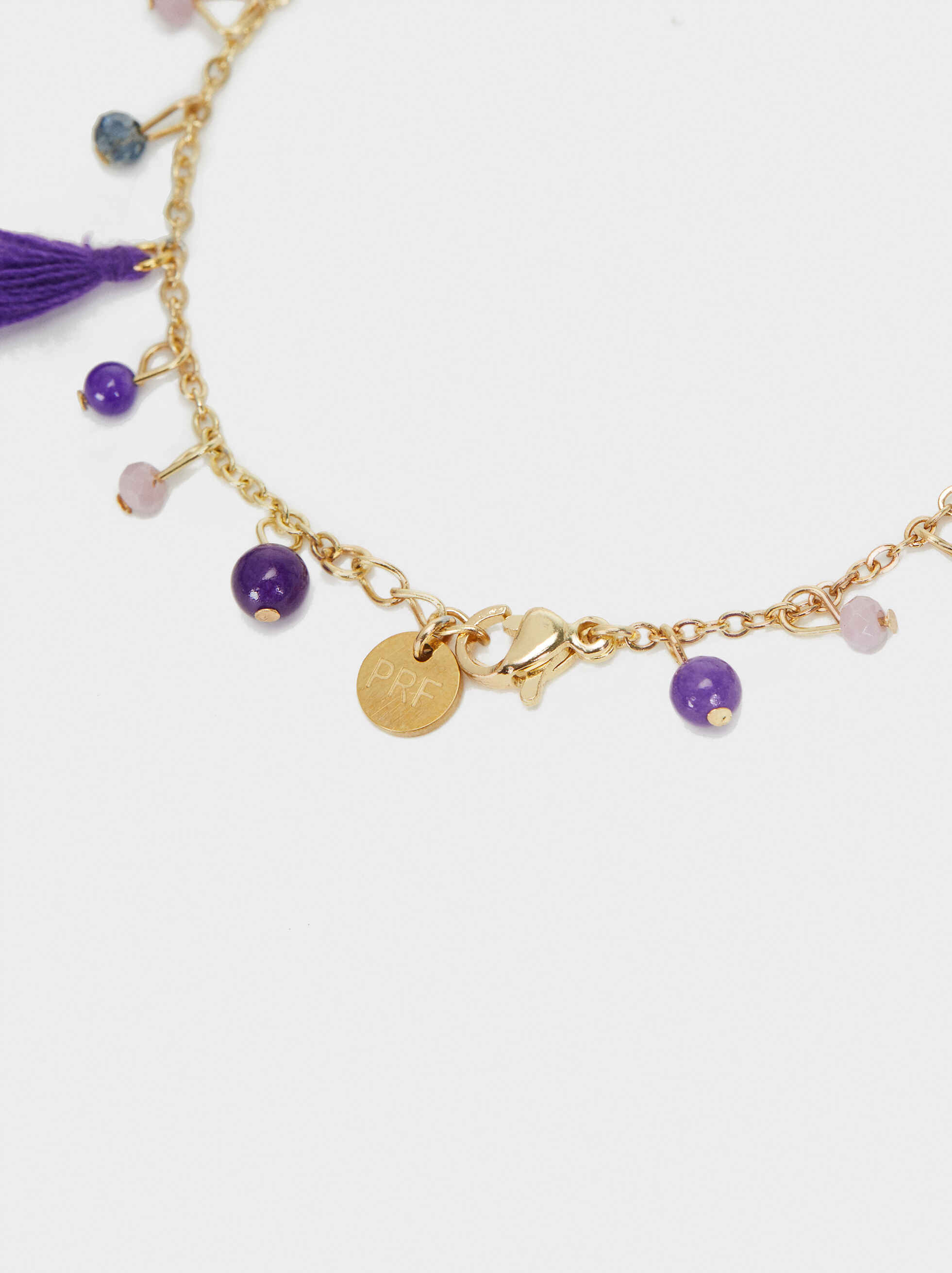 Gold Adjustable Bracelet With Stones And Beads, Purple, hi-res