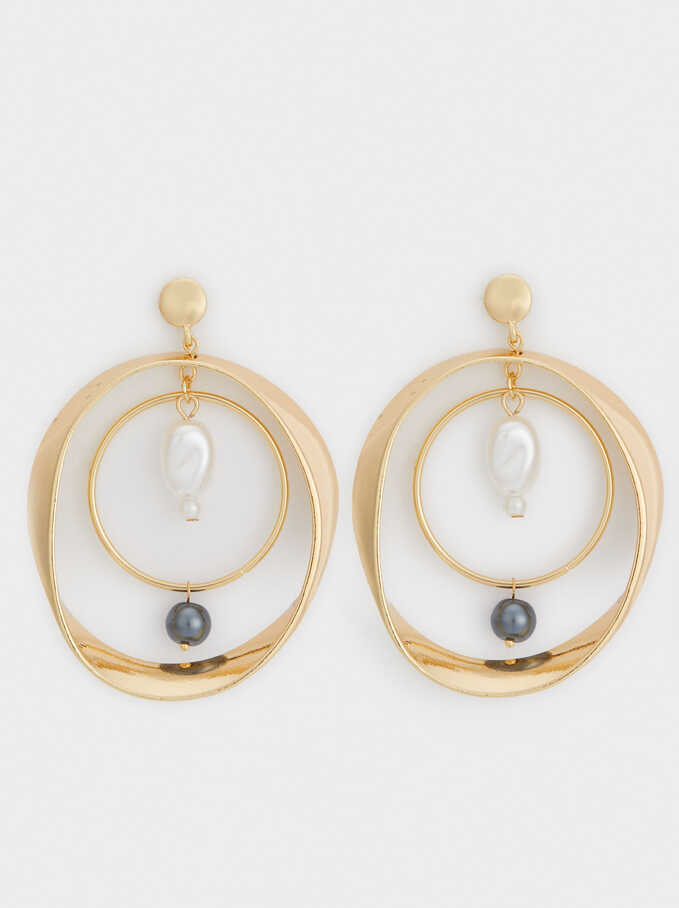 Night Pearls Earrings, Grey, hi-res