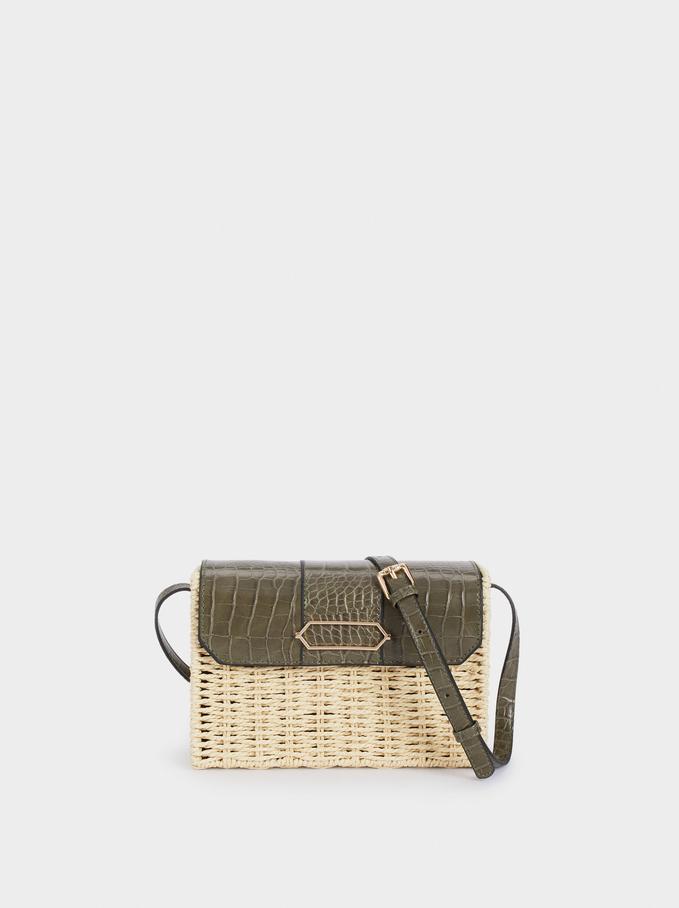 Raffia Textured Crossbody Bag, Khaki, hi-res