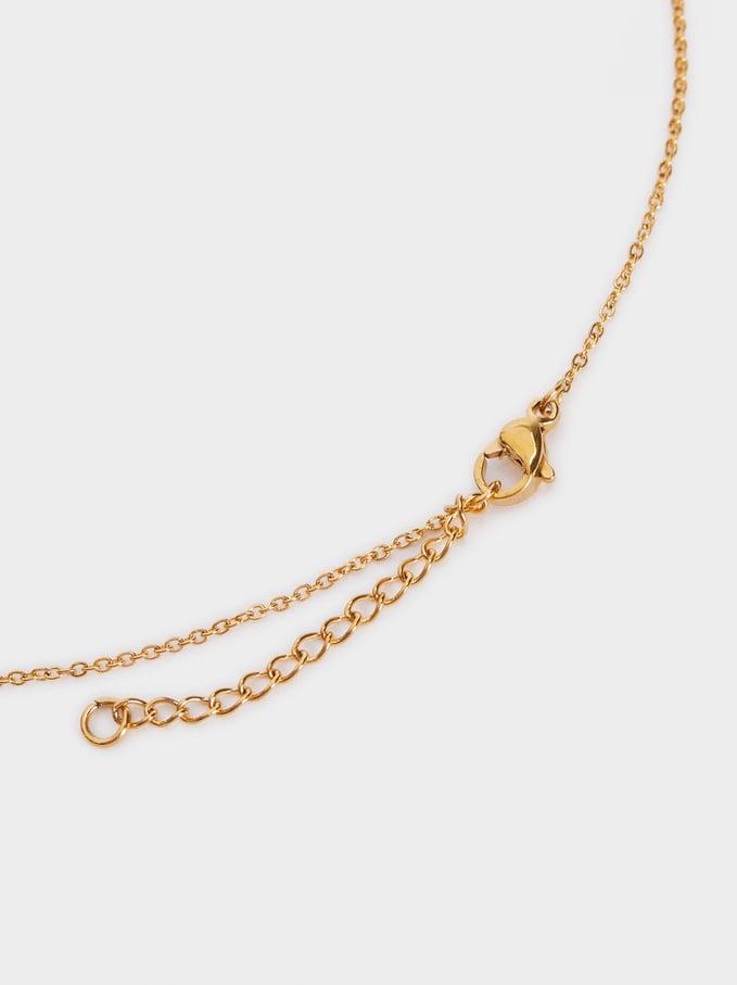 Short Steel Necklace With Rhinestones, Golden, hi-res