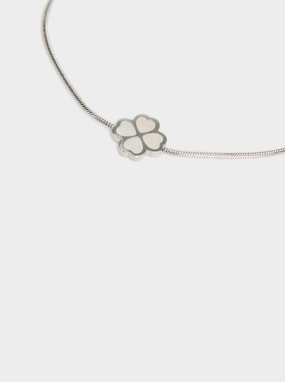 Adjustable Stainless Steel Bracelet With Cloverlea, Silver, hi-res