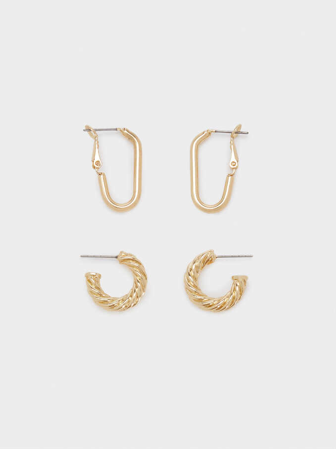 Set Of Golden Hoop Earrings With Raised Effect, Golden, hi-res