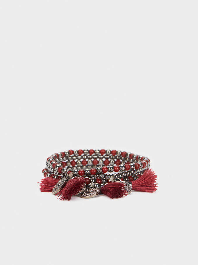 Elasticated Bracelet With Tassel And Multicoloured Beads, Bordeaux, hi-res
