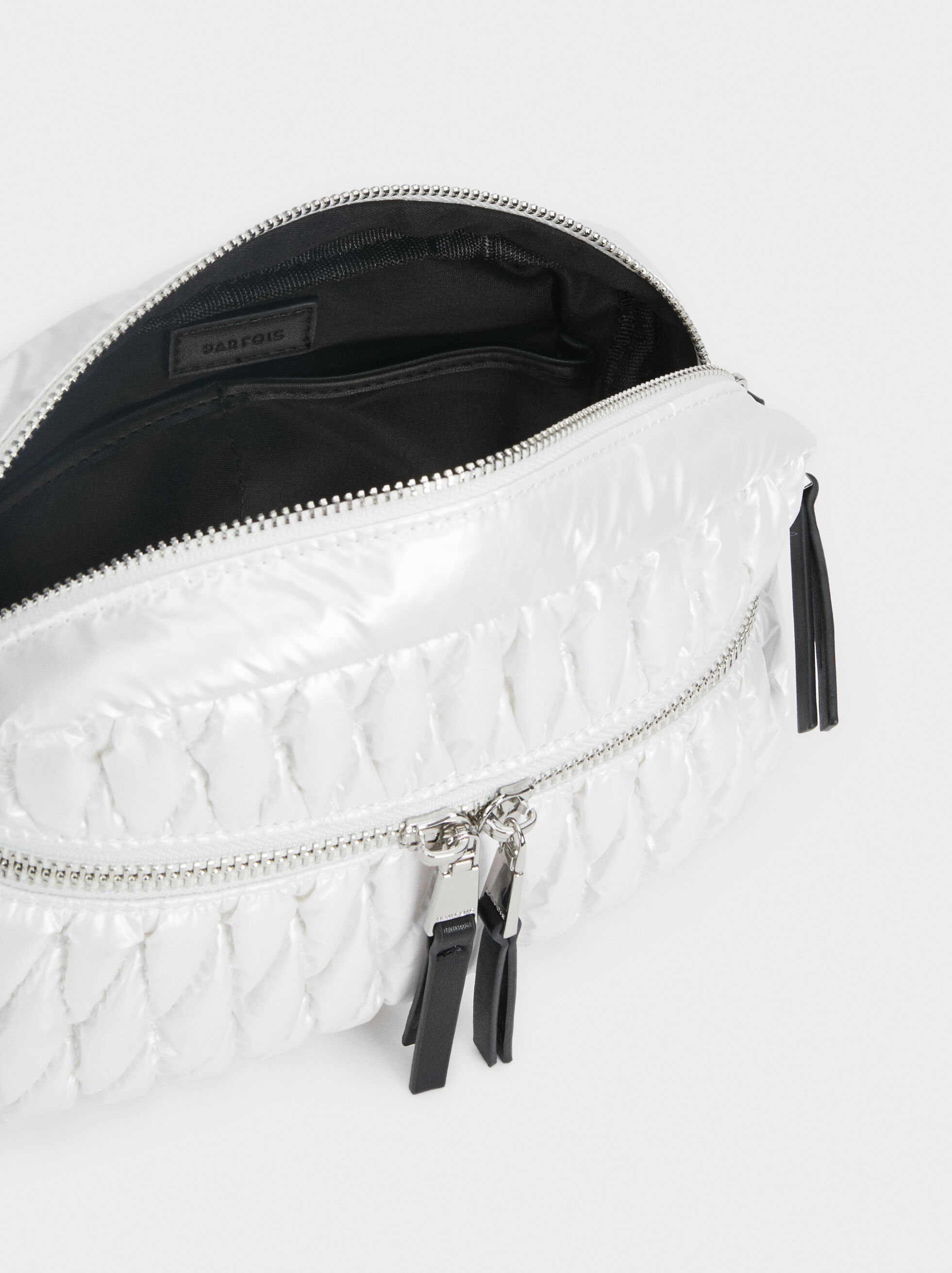 Quilted Crossbody Bag, White, hi-res
