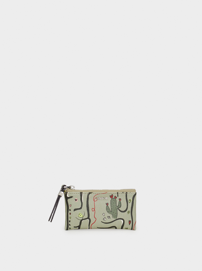 Medium Purse With Key Ring, Khaki, hi-res