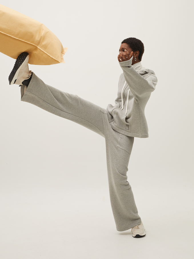 Bawelniane Spodnie Z Szerokimi Nogawkami, Szary, hi-res
