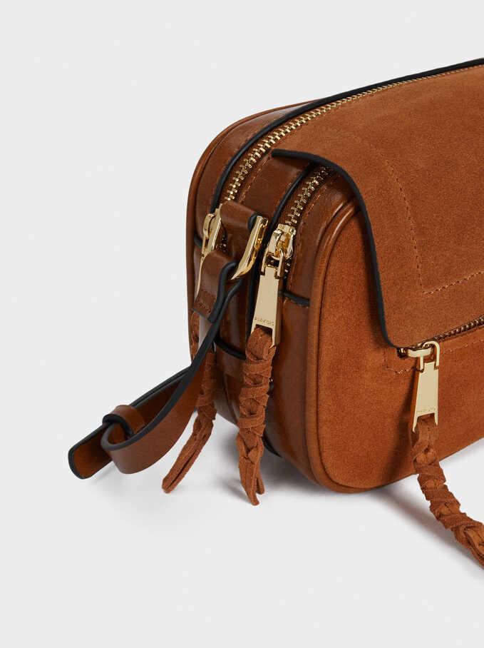 Suede Crossbody Bag, Camel, hi-res