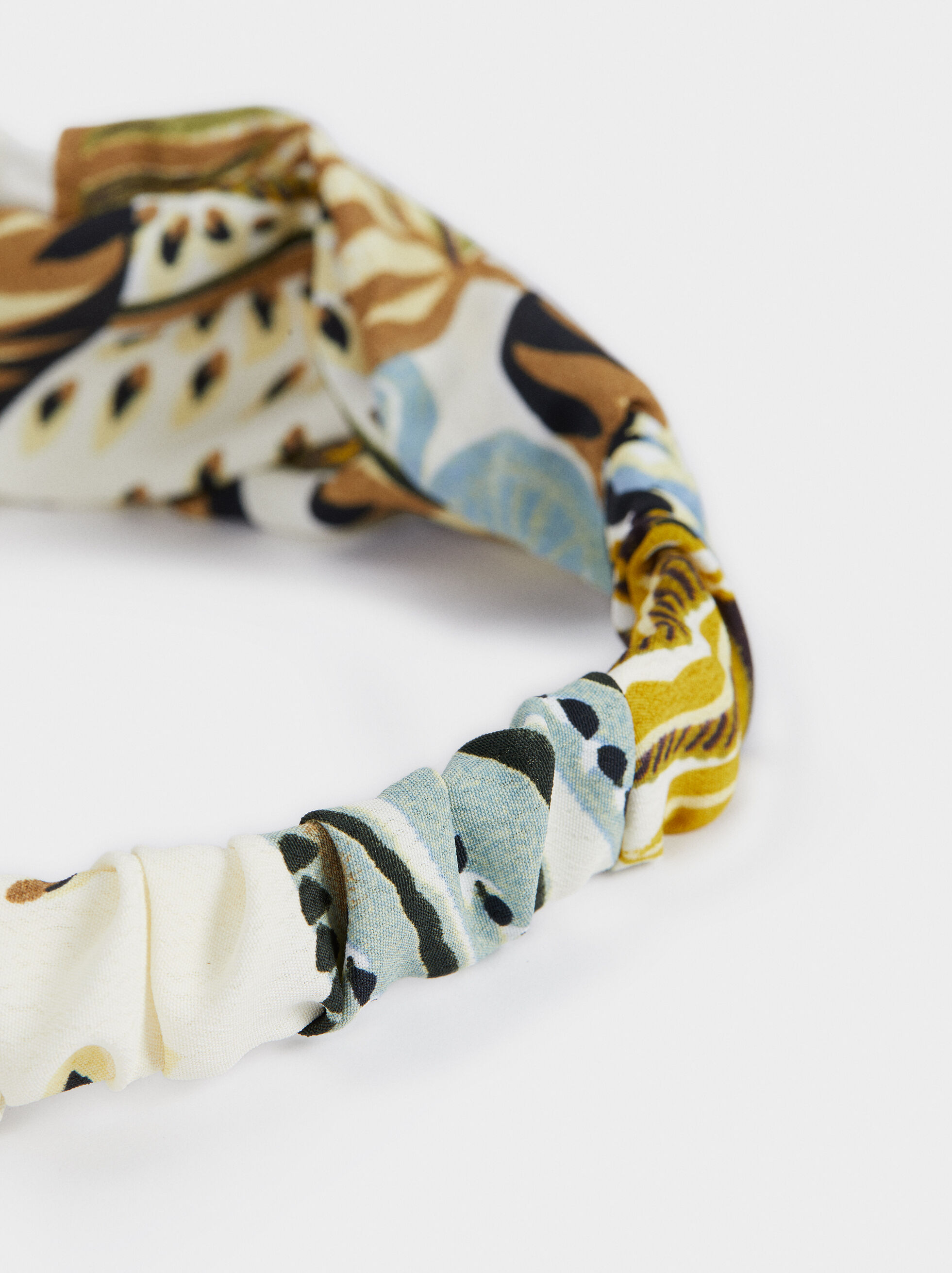Multicoloured Print Turban-Style Headband, Multicolor, hi-res