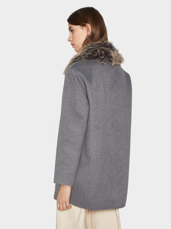 Jacket With Faux Fur Collar, Grey, hi-res