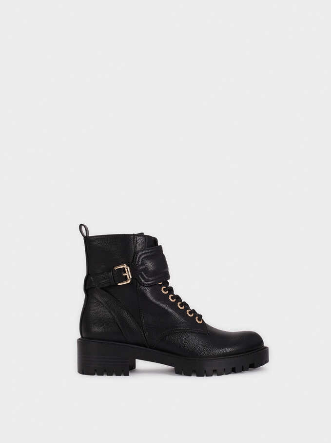 Military Boots With Buckle Detail, Black, hi-res