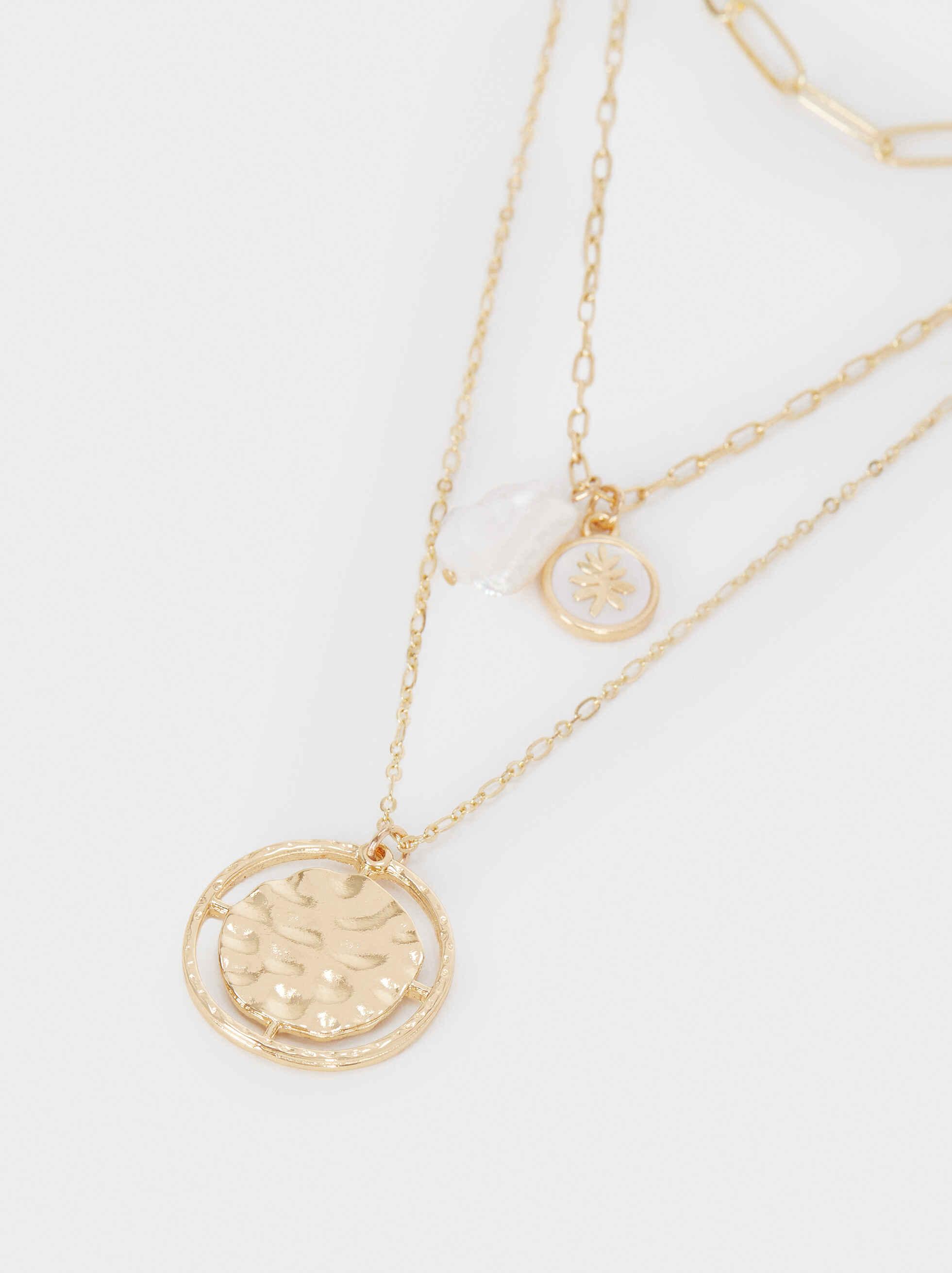 Collar Corto Medallón Y Perla Dorado, Dorado, hi-res