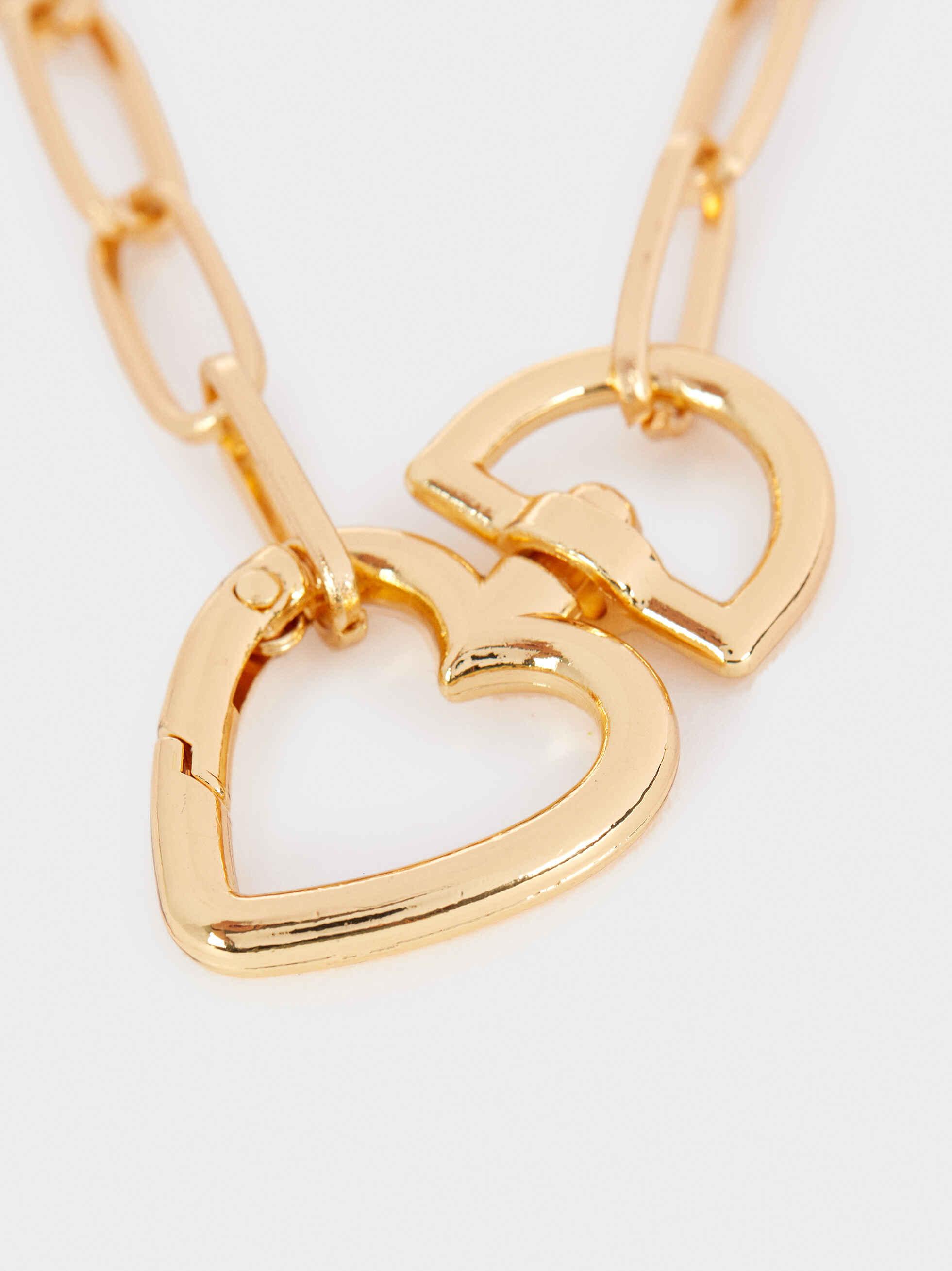 Collar Cadena Corto Corazón Dorado, Dorado, hi-res