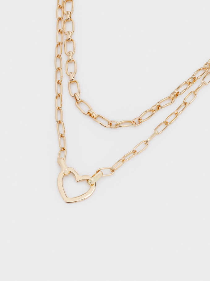 Short Heart Necklace, Golden, hi-res
