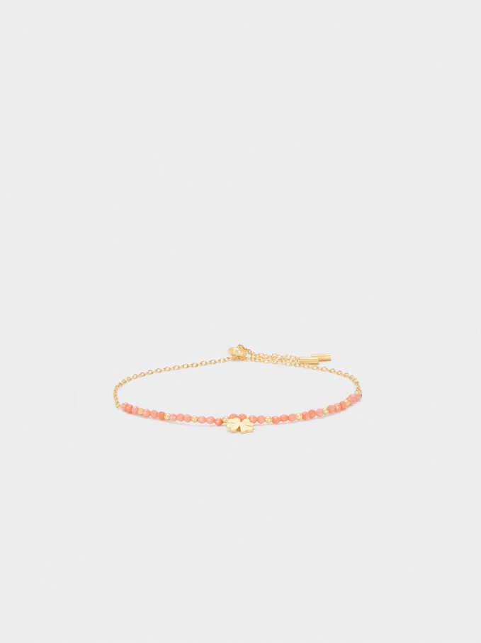 925 Silver Clover Bracelet, Coral, hi-res