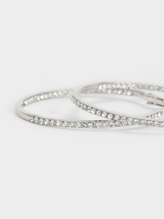 Large Rhinestone Hoop Earrings, Silver, hi-res