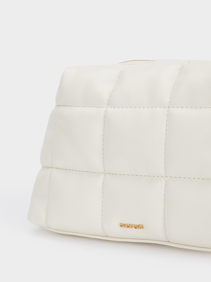 Quilted Crossbody Bag With Strap, Ecru, hi-res