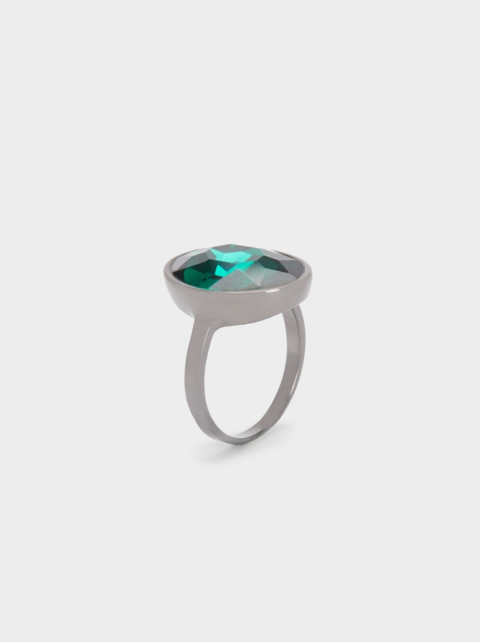 Signet Ring With Crystal, , hi-res