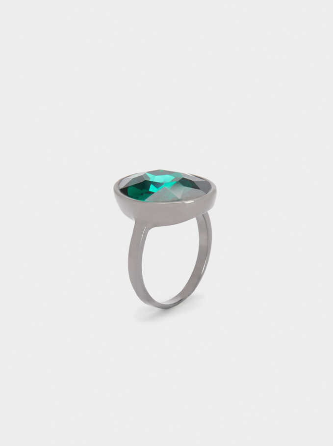 Signet Ring With Multicoloured Crystals, Green, hi-res