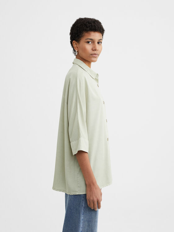 100% Lyocell Shirt With Decorative Buttons, Grey, hi-res