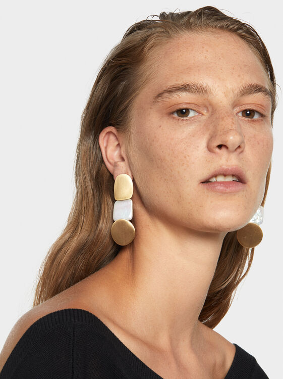 Long Fancy Pearls Earrings, White, hi-res