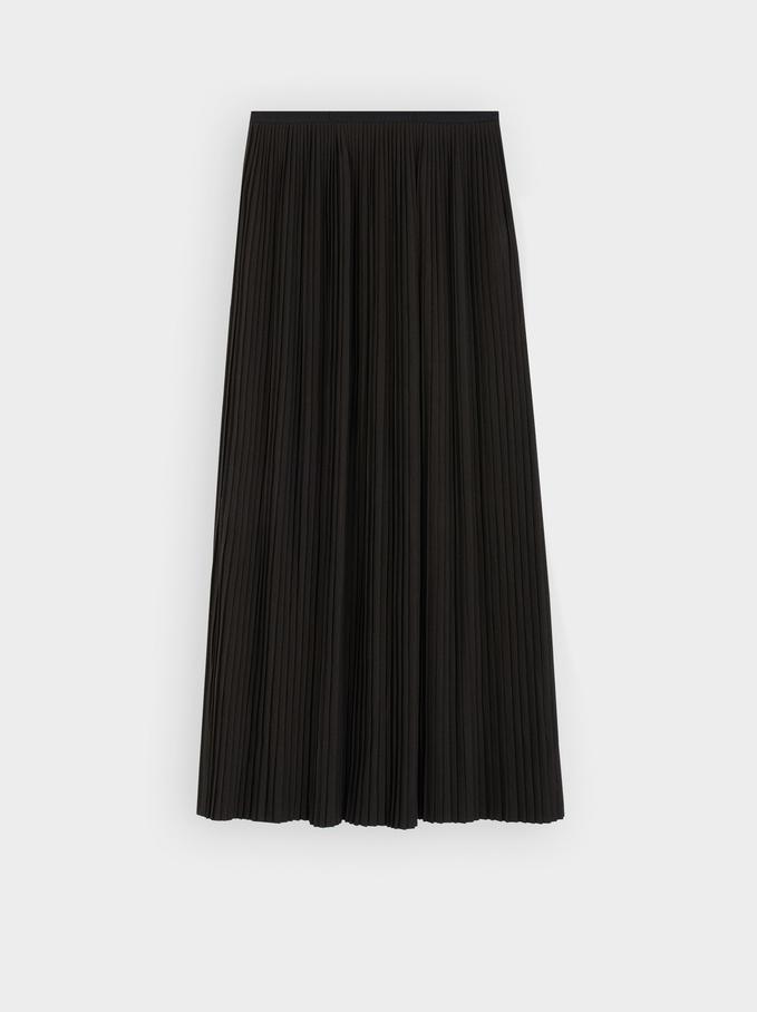 Falda Plisada Cintura Elástica, Negro, hi-res