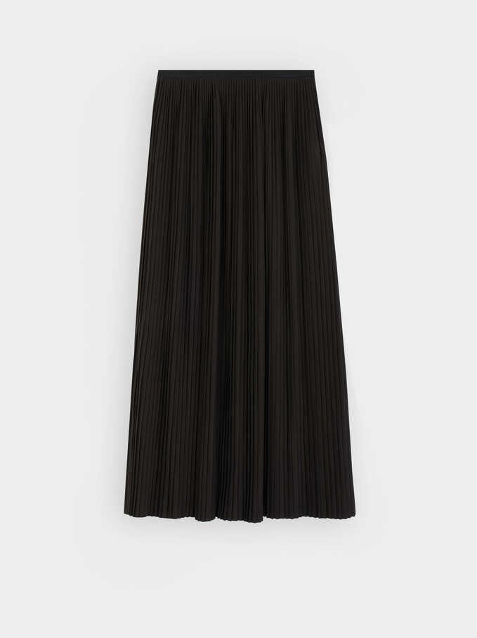 Pleated Skirt With An Elastic Waistband, Black, hi-res