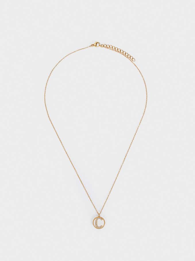 Short Steel Necklace With Letter C, Golden, hi-res