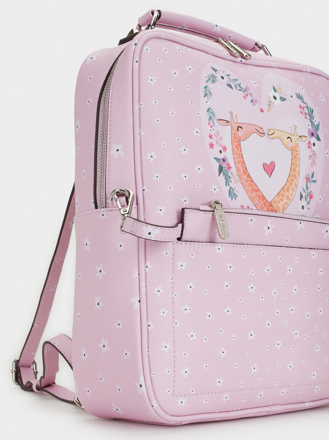 Giraffe Print Backpack, Pink, hi-res