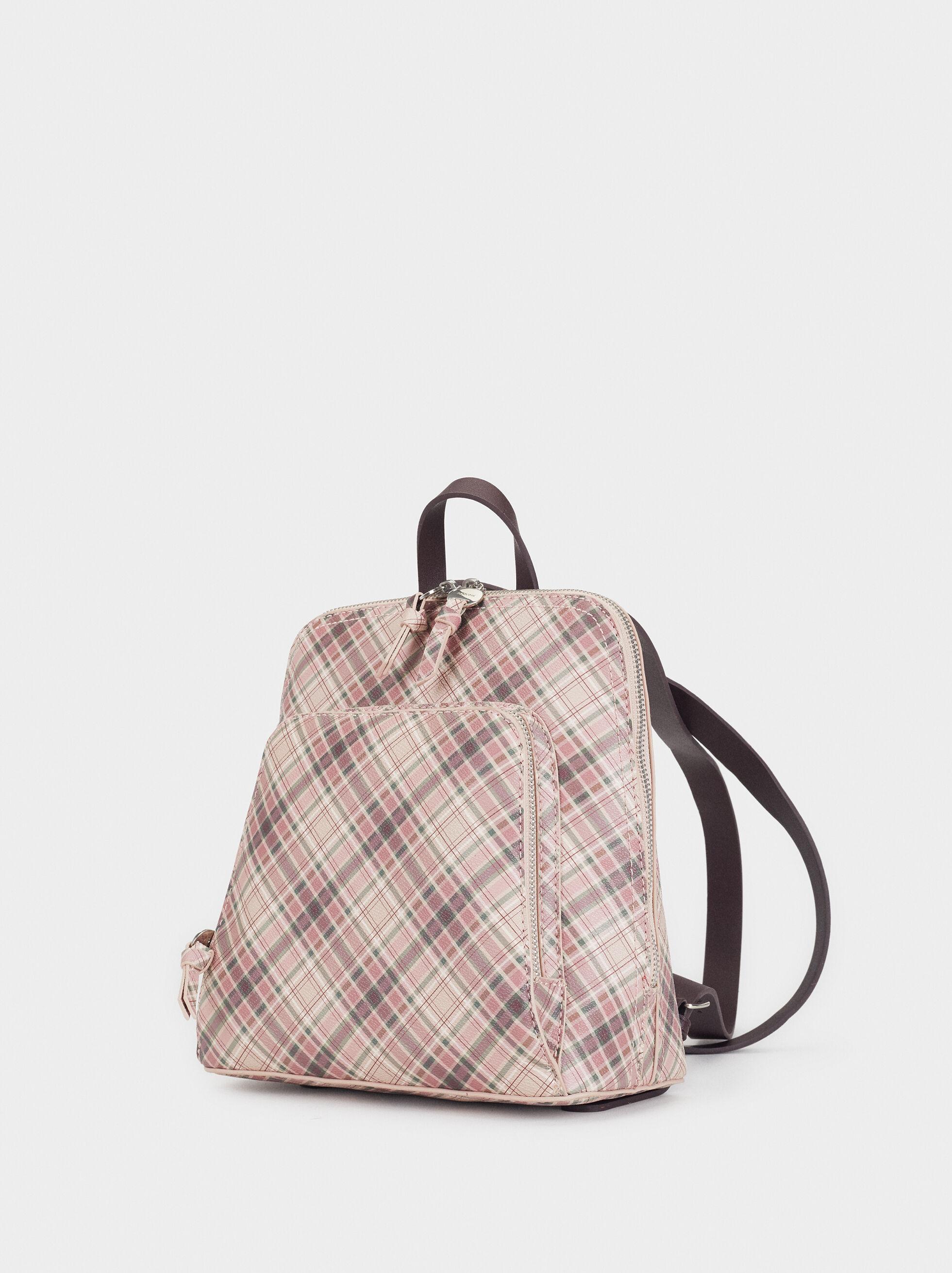 Check Print Backpack, Pink, hi-res