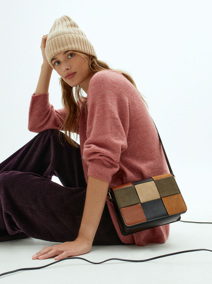 Patchwork Crossbody Bag With Leather, Camel, hi-res