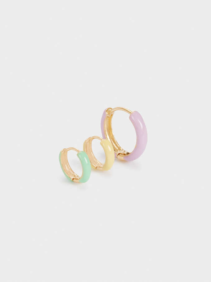 Set Of Small Enamel Hoop Earrings, Multicolor, hi-res