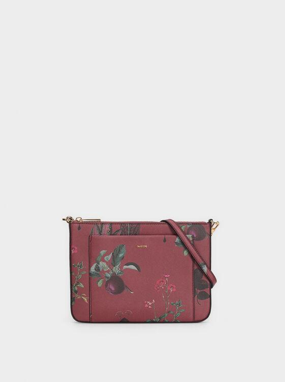 Floral Print Crossbody Bag, , hi-res