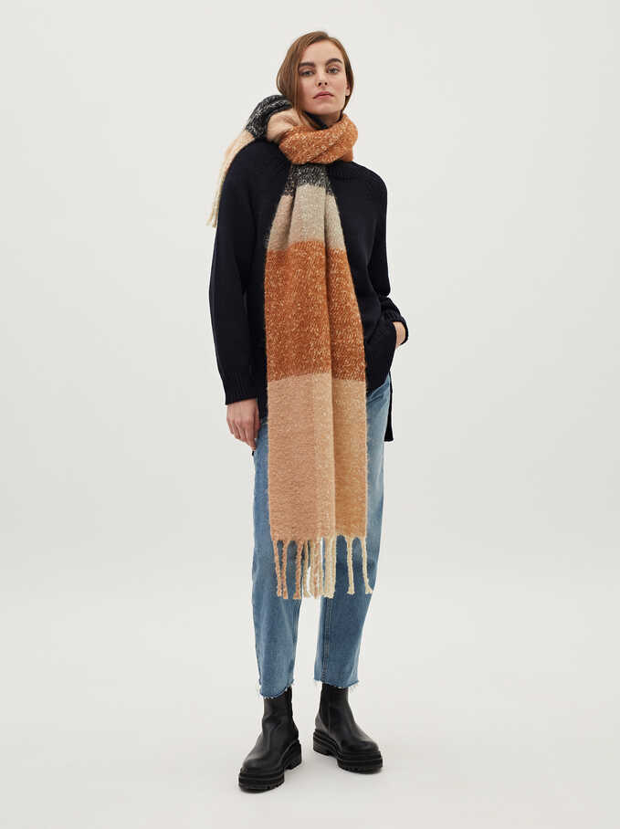 Large Scarf With Multicoloured Check Print, Pink, hi-res