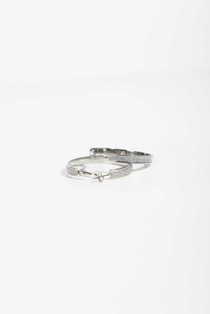Medium Rhinestone Hoop Earrings, Silver, hi-res