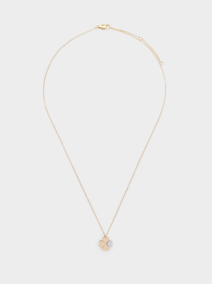 Short Stainless Steel Necklace With Shamrock, Golden, hi-res