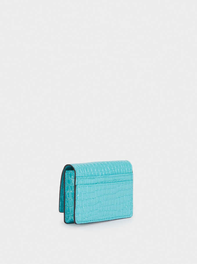 Embossed Card Holder With Coin Purse, Blue, hi-res