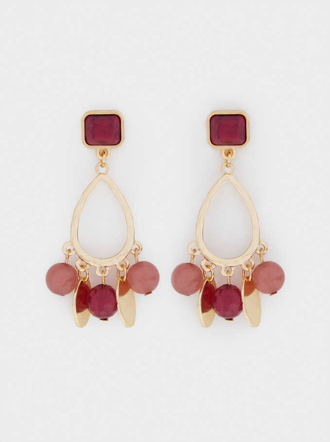 Earrings With Stones, Red, hi-res
