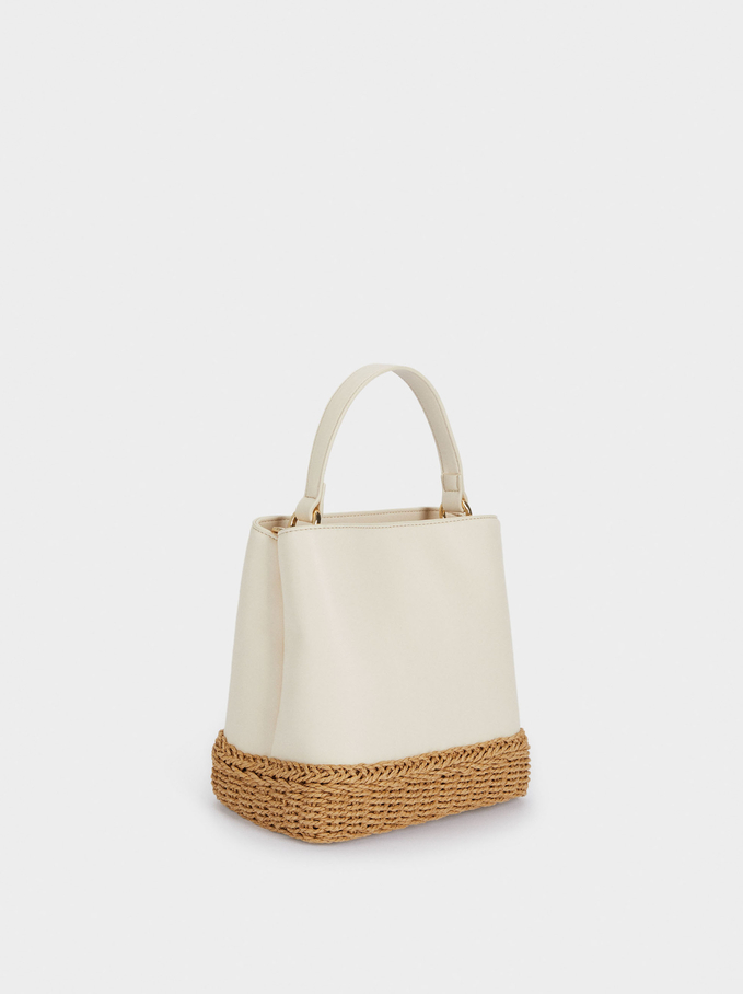 Woven Contrasting Bucket Bag, White, hi-res
