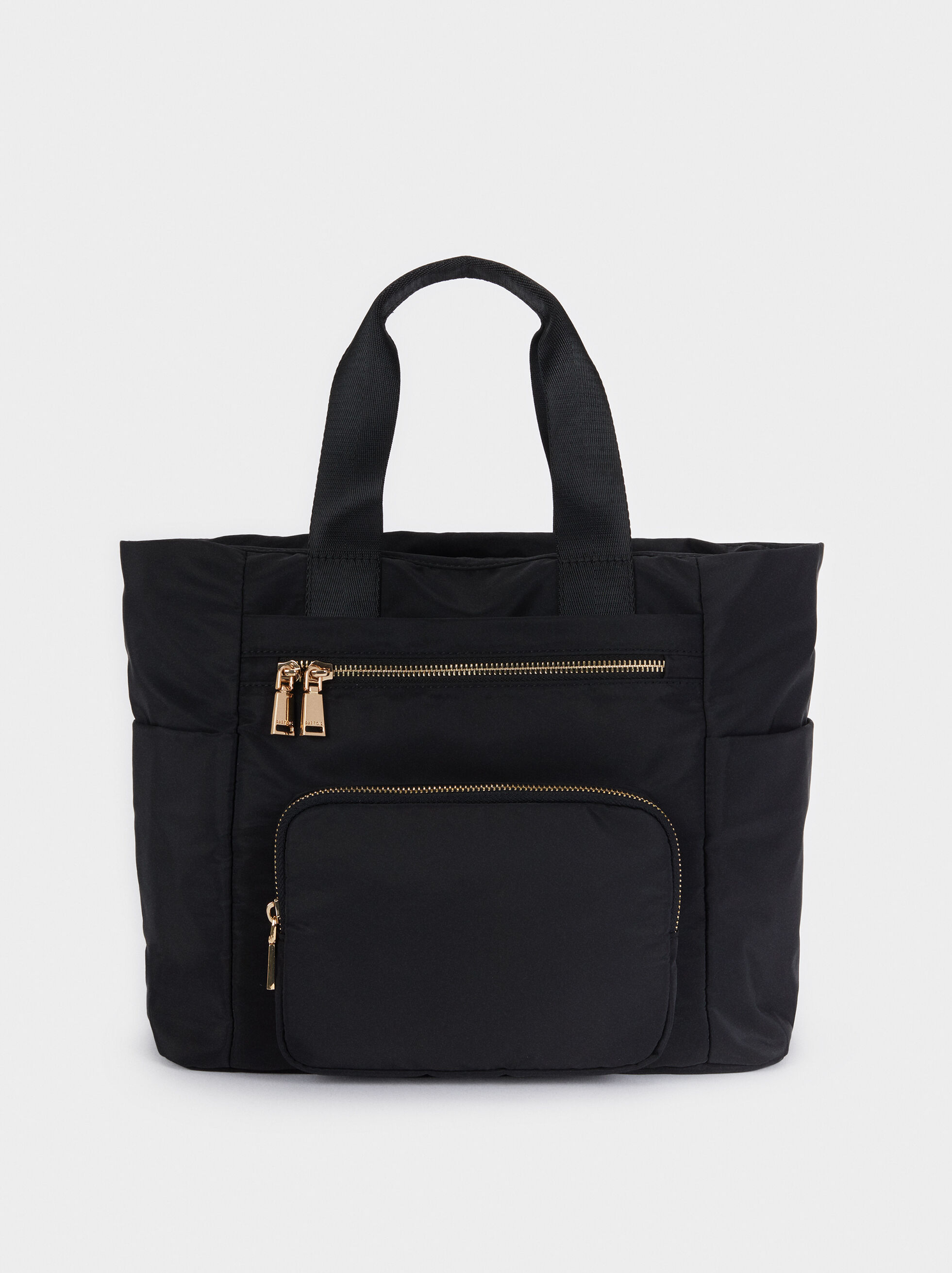 Borsa Shopper In Nylon Con Tasca Esterna, , hi-res