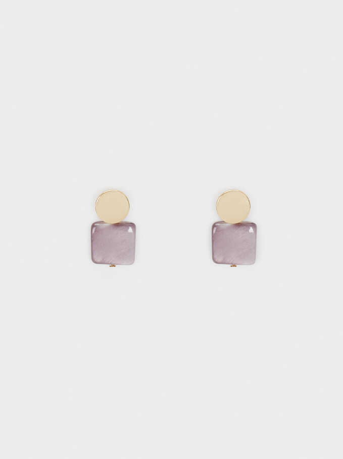 Watercolor Small Earrings, Violet, hi-res