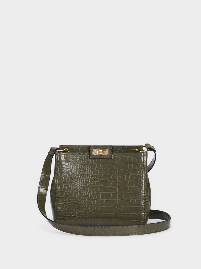 Animal Embossed Crossbody Bag, Khaki, hi-res