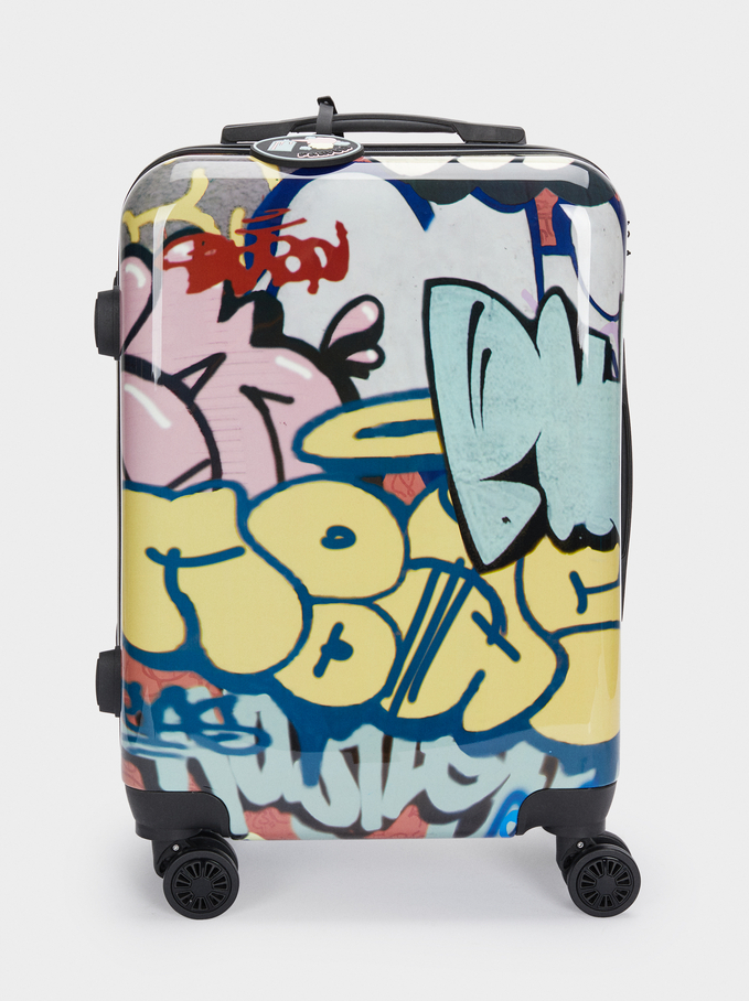 Graffiti Print Trolley Suitcase, Black, hi-res