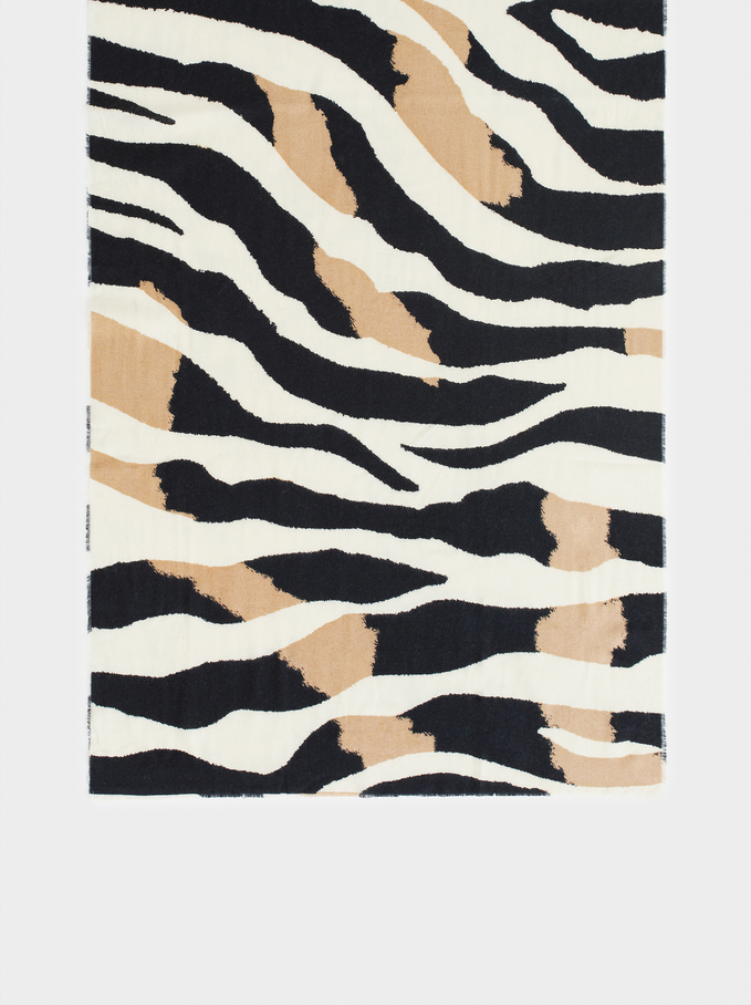 Animal Print Maxi Scarf, Black, hi-res