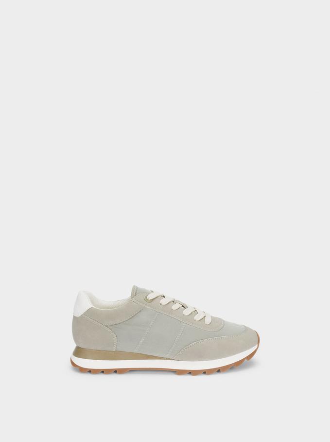 Contrast Sneakers, Khaki, hi-res